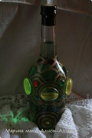 Поселилась у меня дома перед крестинами дочи вот такая бутылка .Зелёненькая такая! Обожаю зелёный цвет. фото 3