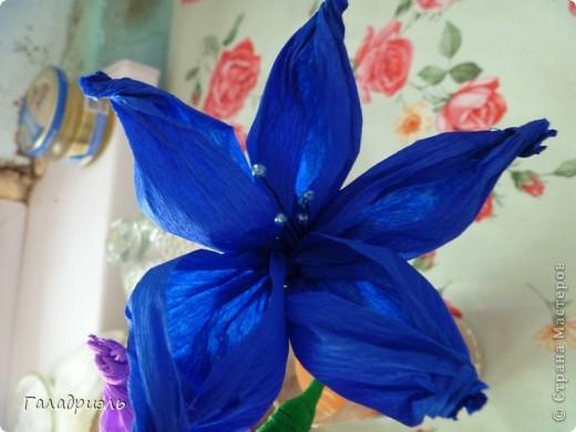 Сделала такой цветок сегодня из креповой бумаги. В интернете попался небольшой мастер-класс по созданию таких цветов вот я и решила попробовать его сделать. фото 3