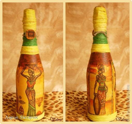 Здравствуйте,уважаемые мастерицы! Я решила сделать в подарок имениннице бутылочку в африканском стиле. Я надеюсь ей понравится. фото 2
