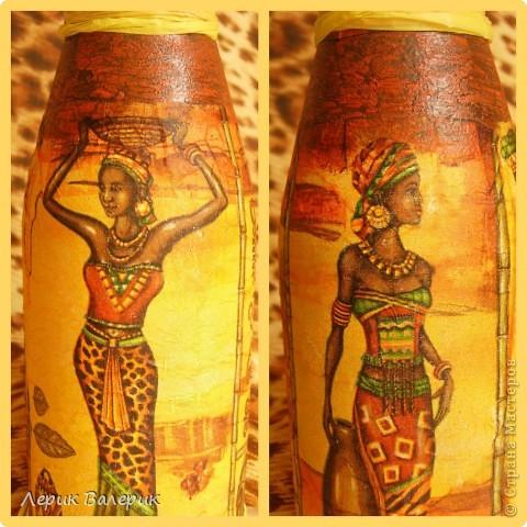 Здравствуйте,уважаемые мастерицы! Я решила сделать в подарок имениннице бутылочку в африканском стиле. Я надеюсь ей понравится. фото 3