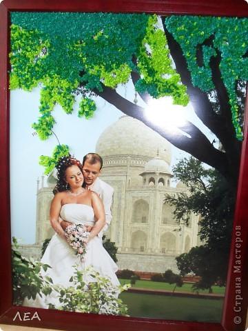 """Доброго времени суток! Ну вот и пролетел год! В июле 2011 г. начался мой роман со скрапом:) 30 июля того же года я дарила свою первую работу подруге на свадьбу. Вот и первая годовщина!  В поисках идеи подарка """"прошерстила"""" Страну и нашла интересную идею - панно-коллаж. Идея Индии была взята с самой свадьбы и увлечения подруги. Она у меня просто помешана на слонах, а свадьба проходила в индийском ресторане... Нашла подходящие фото с пейзажем по размеру на просторах интернета, выбрала несколько фото с невестой и женихом, и в фотошопе сделали несколько вариантов (жаль слон не вписался в общий вид). Выбрали более менее приемлемый, распечатали в типографии и работа пошла. На торцевание меня вдохновила работа White Racoon на сайте http://rus-scrap.ru. Размер фото 30х40. Хоть фото и глянцевое, но к нему достаточно хорошо клеилась папиросная бумага. Общий вид фото 1"""