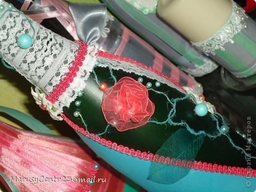 Вот такие бутылочки из лент я сделала на свадьбу сестре. . .)))) фото 4