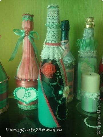Вот такие бутылочки из лент я сделала на свадьбу сестре. . .)))) фото 3
