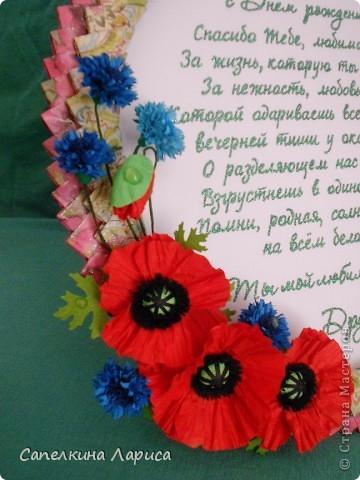 Приветствую Всех! Кажется я вернулась на просторы творчества. Конечно же, отпуск это хорошо, особенно, если можно уделить некоторое время своему любимому увлечению. Представляю Вам открытку для моей любимой Бабушки, моей царицы Тамарочки. ОГРОМНОЕ СПАСИБО за идею и МК рамки Динаше http://stranamasterov.ru/node/266071 и Астории за МК изготовления васильков  http://asti-n.ya.ru/replies.xml?item_no=891 и маков http://asti-n.ya.ru/replies.xml?item_no=888 фото 8