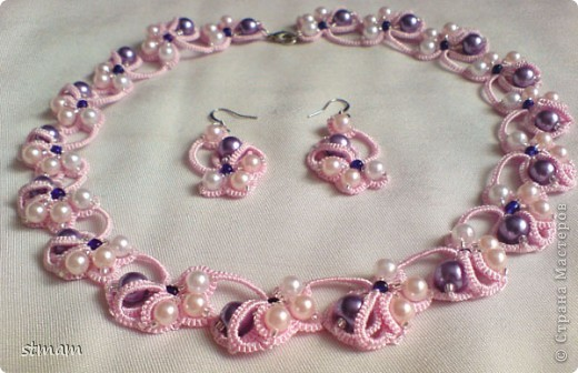 Розовый комплект из ниток полиэстер с декорированием бусинами и бисером фото 1