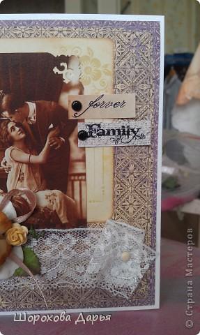 Открыточку, наверное в стиле винтаж, делала на годовщину свадьбы для родителей мужа. На тот момент к сожалению не была еще готова внутренняя часть, а потом не было возможность ее сфотать, поэтому, к сожалению, только лицо. фото 3