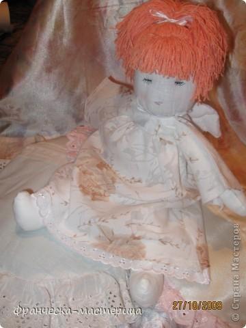 Куколка ростом 35 см., сшита из бязи, набита холоффайбером, волосы - натуральная шерсть. фото 1