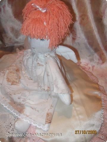 Куколка ростом 35 см., сшита из бязи, набита холоффайбером, волосы - натуральная шерсть. фото 2
