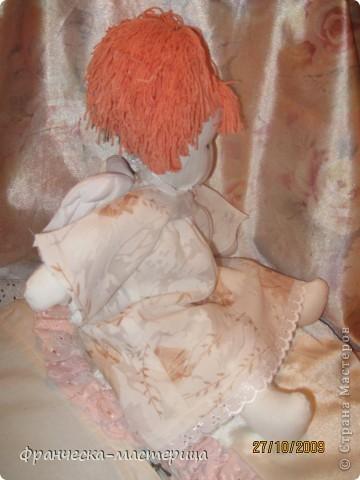 Куколка ростом 35 см., сшита из бязи, набита холоффайбером, волосы - натуральная шерсть. фото 4