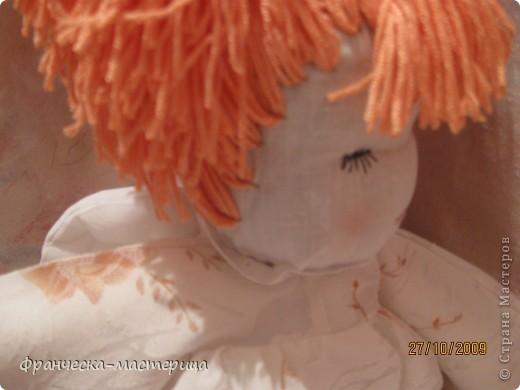 Куколка ростом 35 см., сшита из бязи, набита холоффайбером, волосы - натуральная шерсть. фото 5