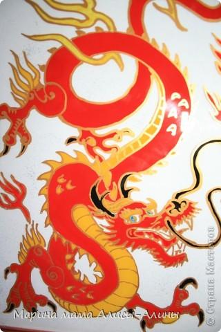 Сегодня я к вам со своим витражом.Давно хотела именно такого дракона.Красные драконы-символ богатства. фото 2