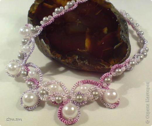 Розовый комплект из ниток полиэстер с декорированием бусинами и бисером фото 3