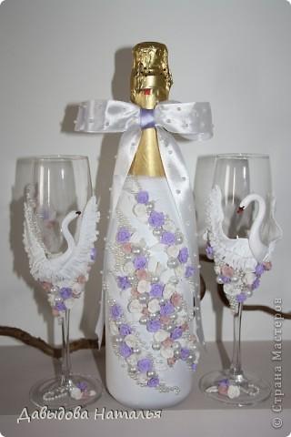 Свадебная бутылка и фужеры. фото 3