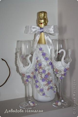 Свадебная бутылка и фужеры. фото 1