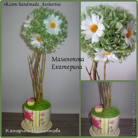 """Всем доброго времени суток! Родилось такое деревце) Быстро и легко сотворилось)) Назвала его """"Ваниль и шоколад"""", т.к. мне кажется эти цветы напоминают ванильку)) фото 3"""