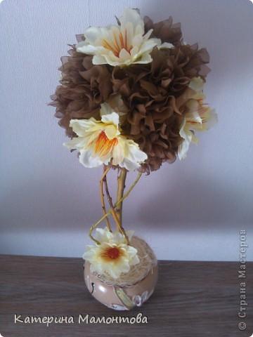 """Всем доброго времени суток! Родилось такое деревце) Быстро и легко сотворилось)) Назвала его """"Ваниль и шоколад"""", т.к. мне кажется эти цветы напоминают ванильку)) фото 2"""