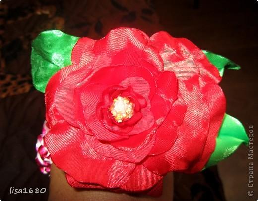 вот такая первая работа была сделана  в стиле канзаша роза.. фото 2