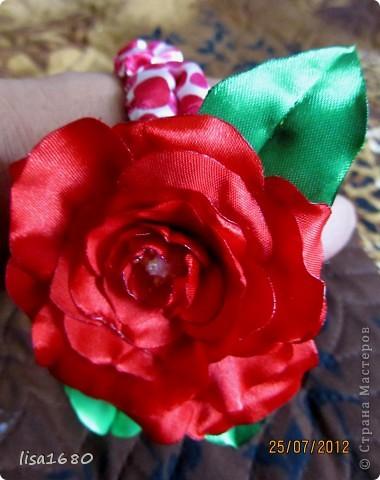 вот такая первая работа была сделана  в стиле канзаша роза.. фото 1