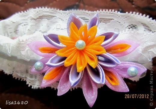 вот такая первая работа была сделана  в стиле канзаша роза.. фото 3
