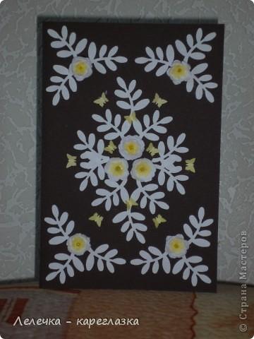 """Сегодня у меня получилась вот такая открытка """"Белые цветы"""". фото 1"""