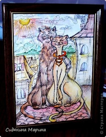 """Очень люблю графику, но без цвета она кажется мне холодной и пустой. Поэтому смешанная техника пришлась мне подуше. Графический рисунок я подсвечиваю акварелью. Это мои """"Влюблённые коты"""". фото 1"""