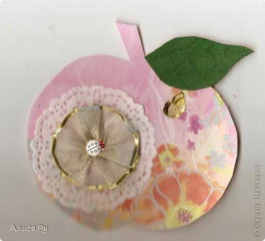 Привет Страна!!!!! Продолжаем готовиться к выставке!!!! Это яблочная открытка. Кроме того, Елена Гайдаенко проводит яблочный конкурс, и хотелось бы послать яблочко туда. фото 1