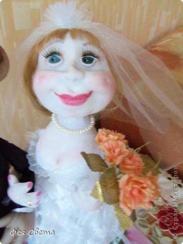 Свадебный заказ. Куклы на бутылочках, приклеены к открытке для удобства, ведь они неразлучники! фото 5
