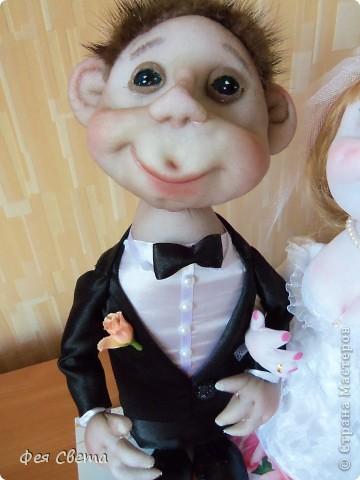 Свадебный заказ. Куклы на бутылочках, приклеены к открытке для удобства, ведь они неразлучники! фото 6