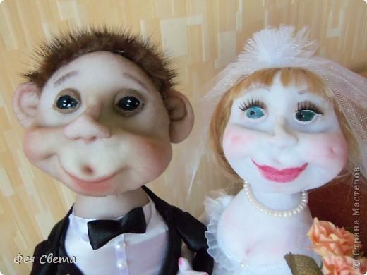 Свадебный заказ. Куклы на бутылочках, приклеены к открытке для удобства, ведь они неразлучники! фото 2