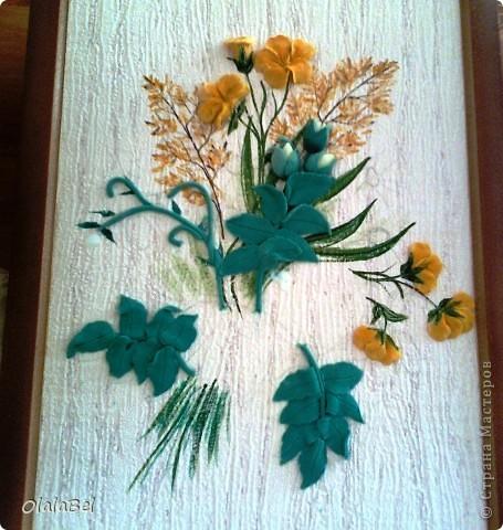 Панно. Цветы из соленого теста. Фото с мобильного телефона...(((((( фото 4