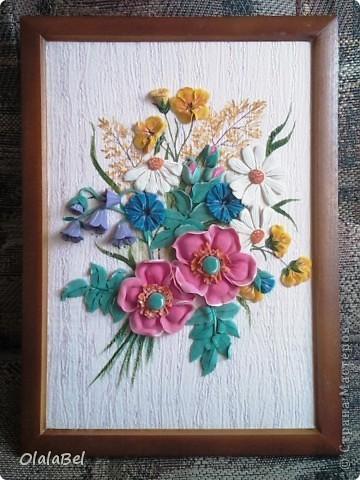 Панно. Цветы из соленого теста. Фото с мобильного телефона...(((((( фото 1
