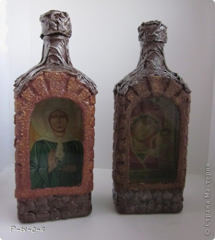 Вот такие бутылочки получились. Спасибо Катюся за МК МК тут http://stranamasterov.ru/node/153839?c=favorite_c фото 1