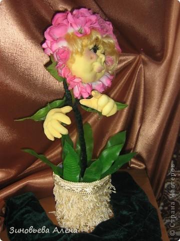 """Давным-давно было обещано тогда ещё близкой подруге,а теперь уже куме,сшить цветочек в горшке.Никак не могла придумать,как это сделать.СПАСИБО """"СТРАНЕ МАСТЕРОВ"""" и всем мастерицам за помощь в осуществлении желания. фото 3"""