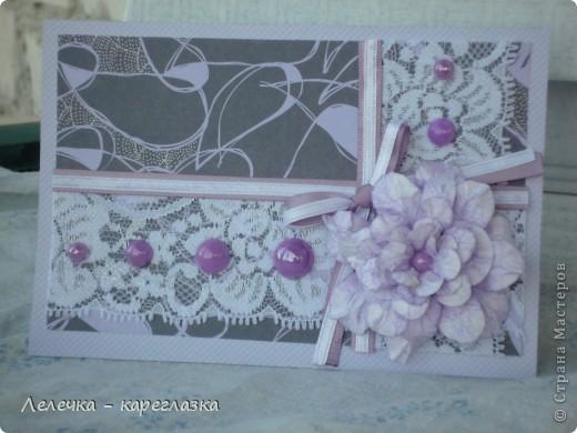 """Сегодня у меня получилась """"Сиреневая открытка"""". Размер 10*15. К сожалению фотоаппарат искажает немного цвета. фото 3"""