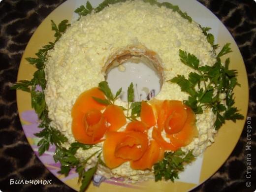 Укладывать слоями, все слои промазать майонезом: 1 - вареный картофель 2 - жареные грибы (у меня шампиньоны) 3 - вареная морковь 4 - белки яиц 5 - сыр 6 - желтки Уерашаем по своему желанию...у меня вот так: