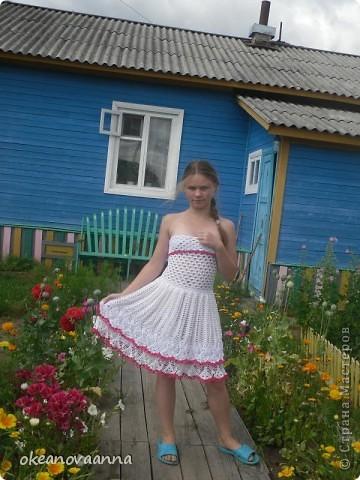 Из юбки конкурсной решили сделать платье, так как юбок уже достаточно. Довязала верх, вот что у нас получилось. Идею увидела в интернете. фото 1