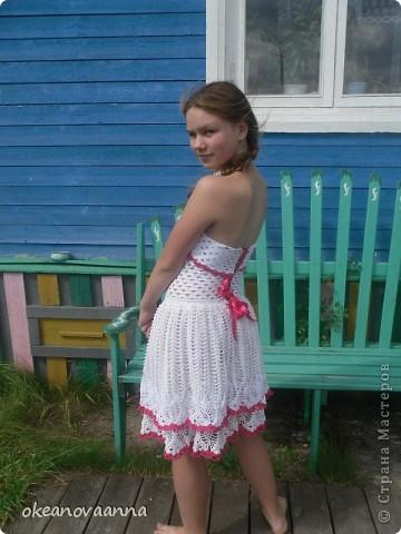 Из юбки конкурсной решили сделать платье, так как юбок уже достаточно. Довязала верх, вот что у нас получилось. Идею увидела в интернете. фото 2