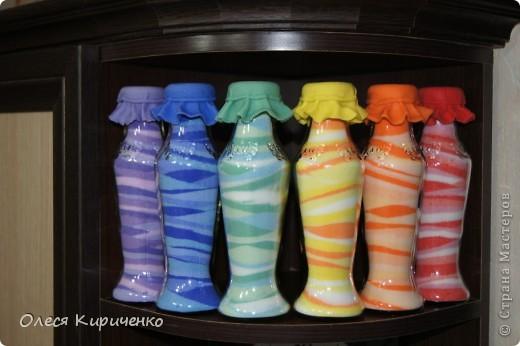 """Здравствуйте, мастера и мастерицы! Вот решила попробовать сделать """"насыпушки"""", вроде получилось) Почти радуга, тольго голубой бутылочки не хватает... фото 1"""