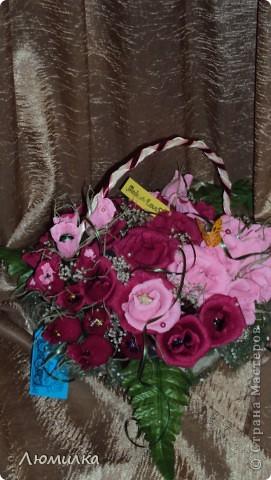 Здравствуйте всем! Это моя первая корзиночка на заказ! Очень волнуюсь, ещё не отдавала. Подарок маме от дочери. Большущее спасибо ПроБелке за её розы! Прям источник вдохновения какой-то!)))))Прошу оценить! фото 5