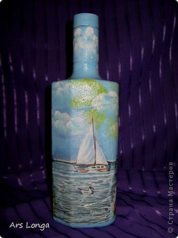 Вот такая морская бутылочка с огненной водой получилась в этот раз. Очень она мне нравится :) Сделана в подарок дяде, который живет на берегу Черного моря :) фото 2