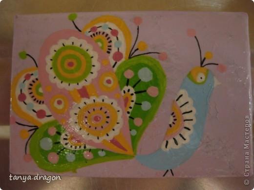 """надоели мне все магниты, висящие вразнобой на холодильнике, и решила я это """"дело"""" оформить в одном стиле, т.е. наляпать птичек)))))) фото 6"""