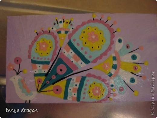 """надоели мне все магниты, висящие вразнобой на холодильнике, и решила я это """"дело"""" оформить в одном стиле, т.е. наляпать птичек)))))) фото 7"""
