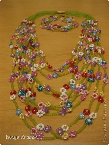 бусы и браслет - цветочки смотрится обалденно! фото 1