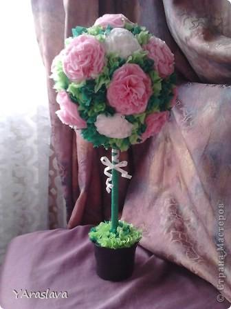 голубое деревце=)).... очень нравятся пушистые цветочки ( в цветочки я вклеила бусинки... правда на фото это не очень заметно=( ) фото 5