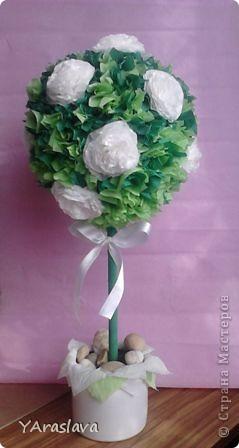 голубое деревце=)).... очень нравятся пушистые цветочки ( в цветочки я вклеила бусинки... правда на фото это не очень заметно=( ) фото 6
