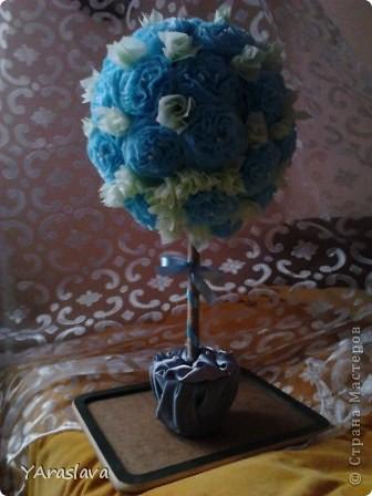 голубое деревце=)).... очень нравятся пушистые цветочки ( в цветочки я вклеила бусинки... правда на фото это не очень заметно=( ) фото 7