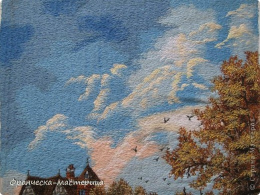 Картина размером 30 на 40 см. Вышивалась на холсте. Сюжет взят с оригинальной картины Дэниса Льюэна. фото 2