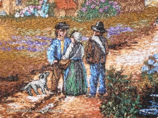 Картина размером 30 на 40 см. Вышивалась на холсте. Сюжет взят с оригинальной картины Дэниса Льюэна. фото 5