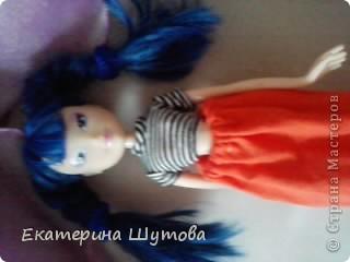 Вот моя Мальвина!и её первый наряд! )))) полосатая кофточка(покупная) и сшитая мной юбочка! фото 2