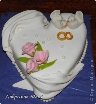 Доброго времени суток всем) Это мой первый свадебный тортик) фото 3